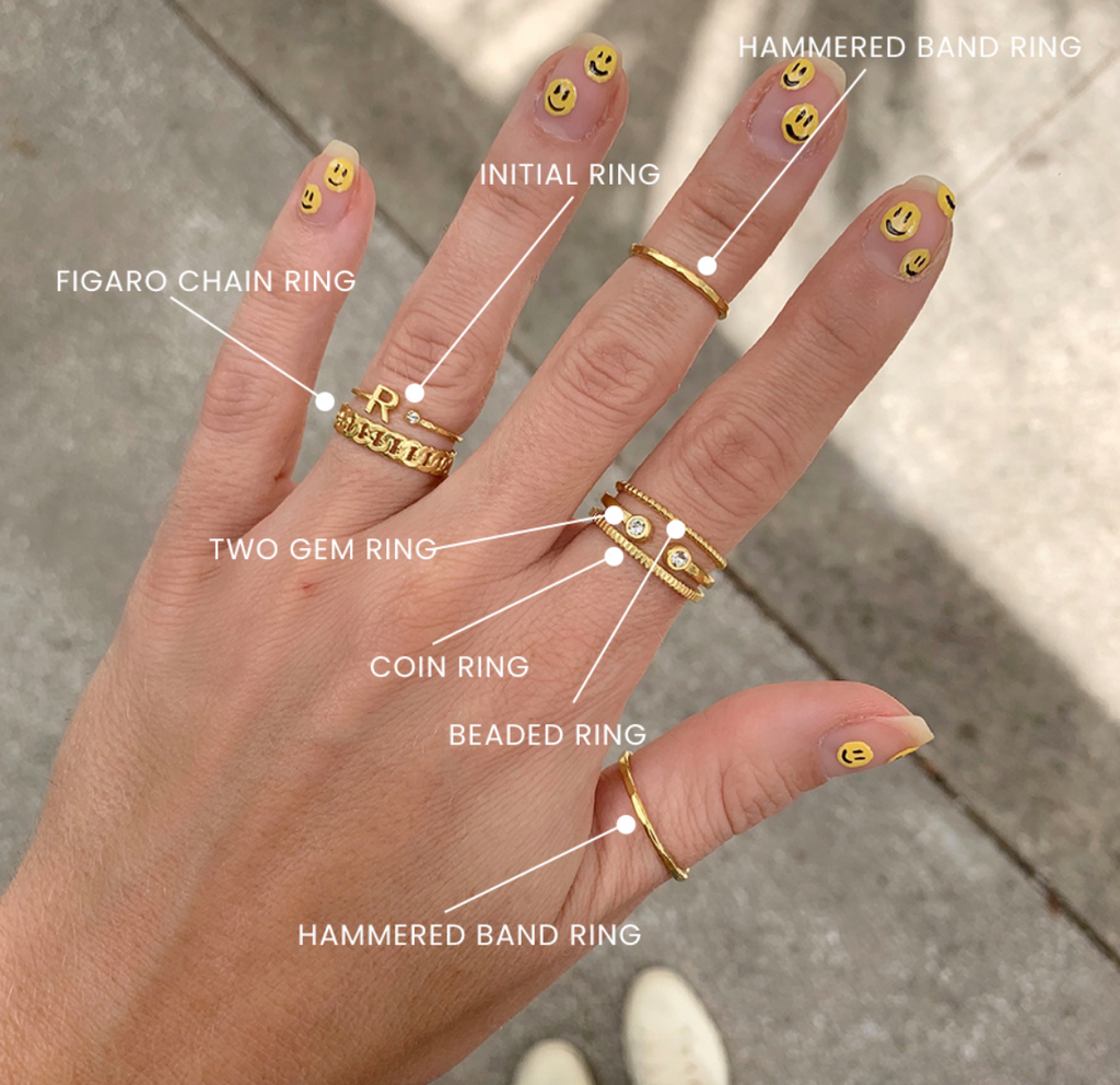 Happy Face Nails and gold stacking rings handmade in America by Katie Dean Jewelry