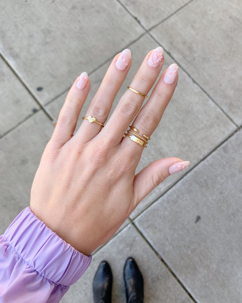 Heart Nails, ring and gold dainty ring party by Katie Dean Jewelry