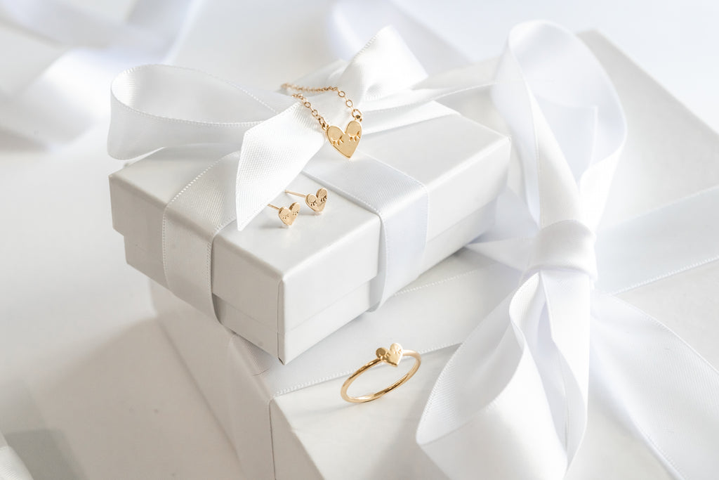 Heart collection, Katie Dean Jewelry, holiday gift guide, dainty heart necklace, ring + earrings