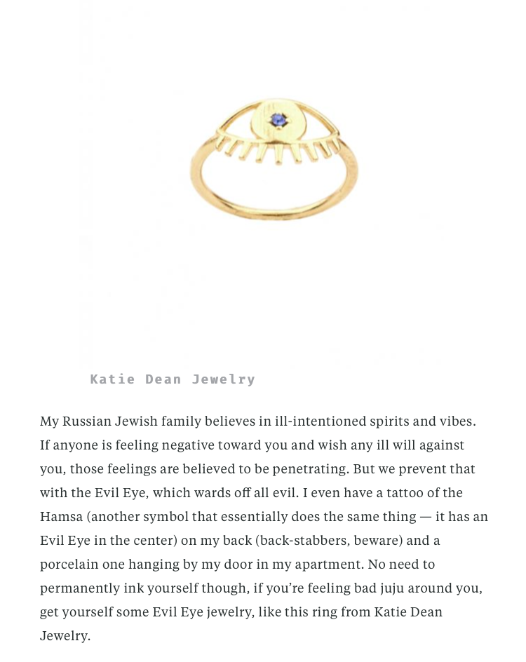 hello Giggles Katie Dean Jewelry evil eye ring