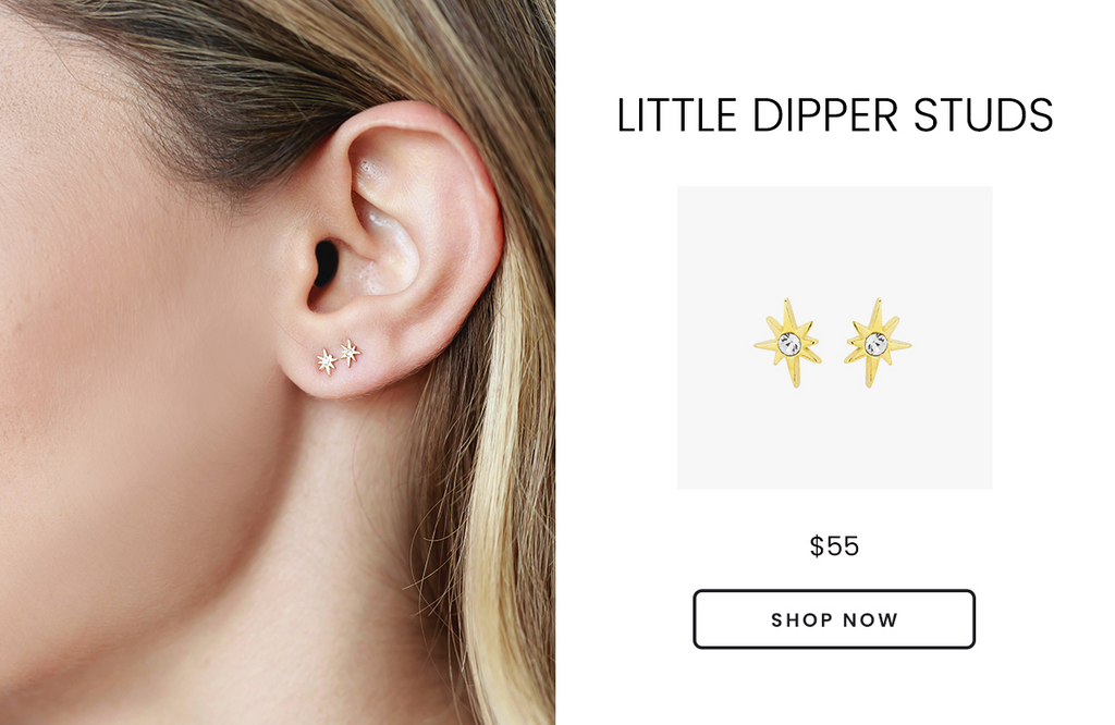 Hypoallergenic Little Dipper Stud Earrings, handmade by Katie Dean Jewelry in the USA, Valentine's Day Gift