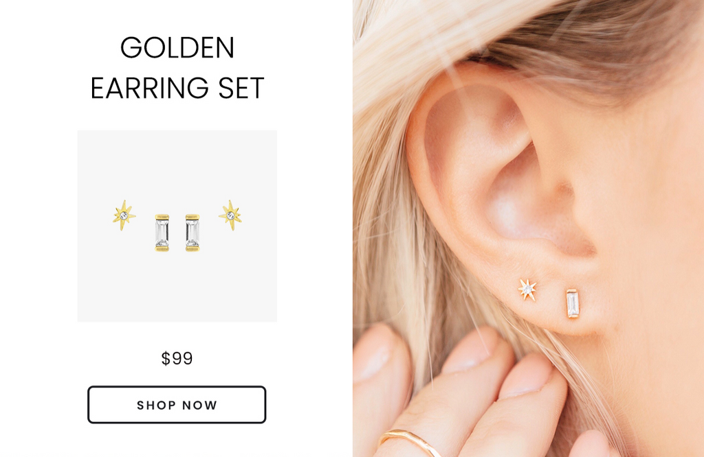 Golden Earring Set, Little Dipper Star Studs and Baguette Studs Earring Set by Katie Dean Jewelry, safe for sensitive ears