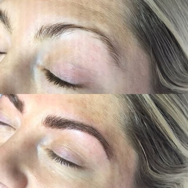 My eyebrows before and after microblading, crazy!