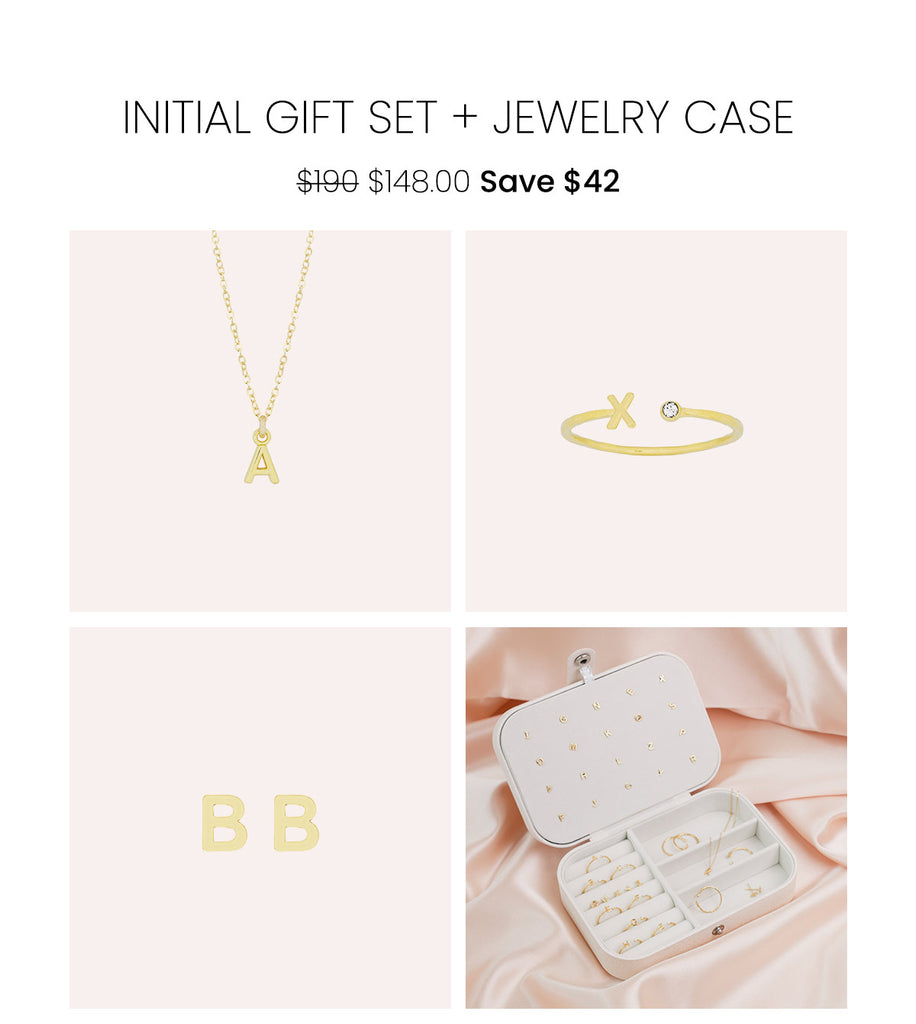 The Initial Gift Set by Katie Dean Jewelry, featuring a dainty gold Initial Necklace, Initial Ring, Initial Earrings and a FREE travel jewelry case