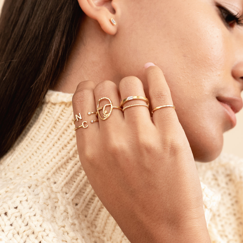 Dainty stackable gold Initial Rings, personalized jewelry by Katie Dean Jewelry, handmade in California