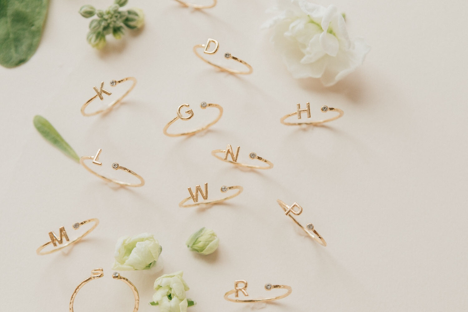 Initial Rings, G, N, W, personalized jewelry, Katie Dean