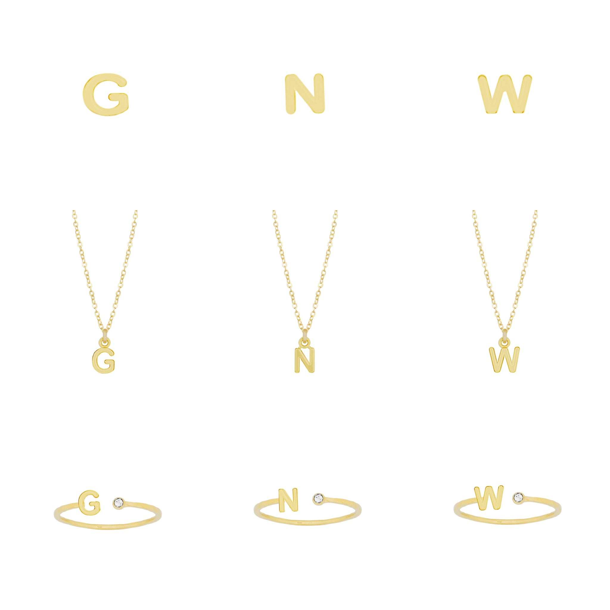 Initials G, N, W, Rings, Necklace, Stud, Katie Dean Jewelry