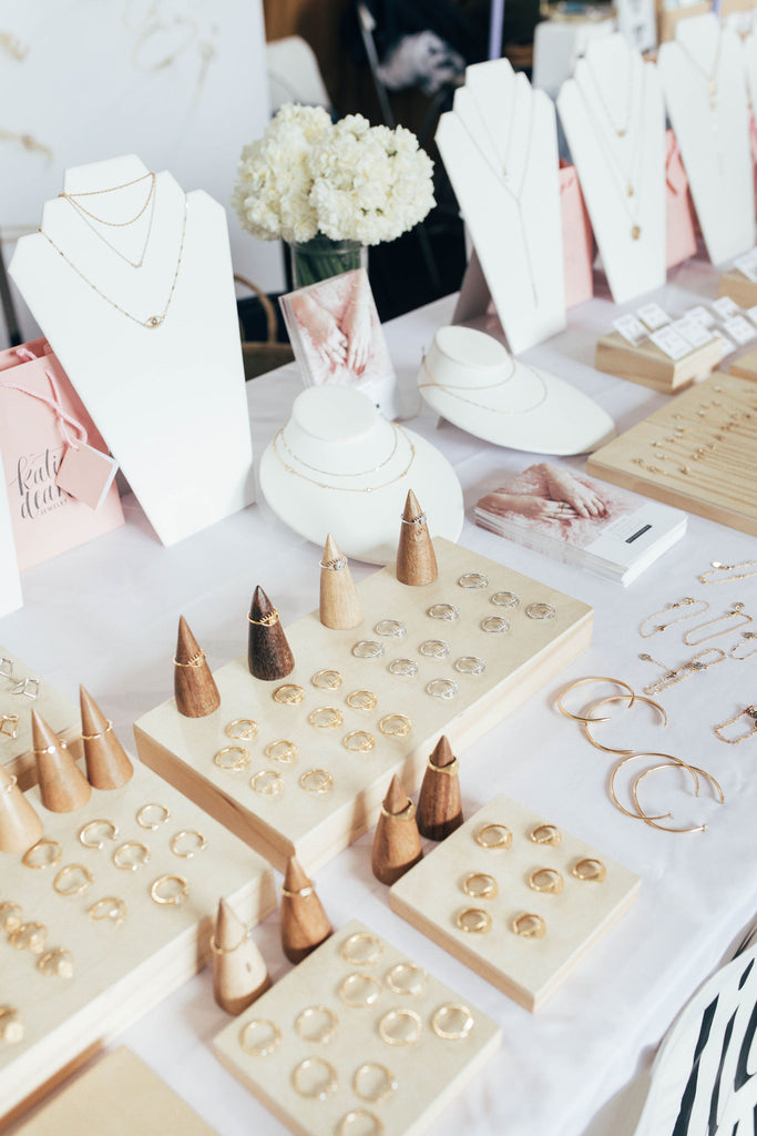Katie Dean Jewelry event set up, Renegade Craft Fair, handmade in America rings, earrings, necklaces and bracelets made for the minimalist