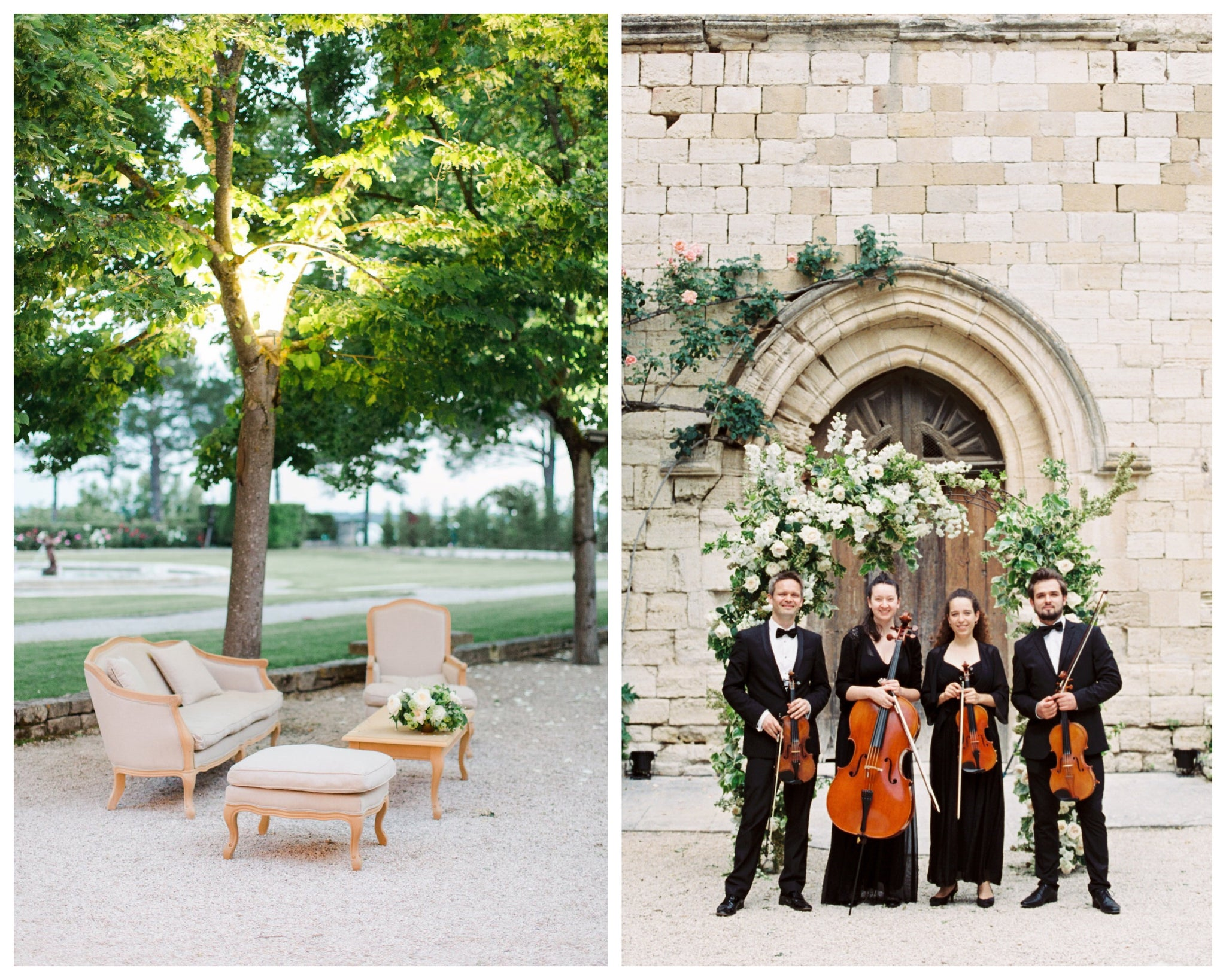 Katie Dean Jewelry romantic destination wedding at a chateau, Provence, France, Kingswood Four String Quartet + venue