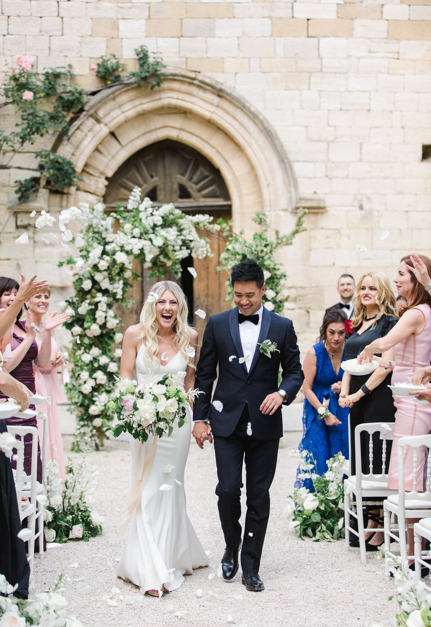 Katie Dean + Jon Tam Destination wedding, Provence, France Wedding, rose petals