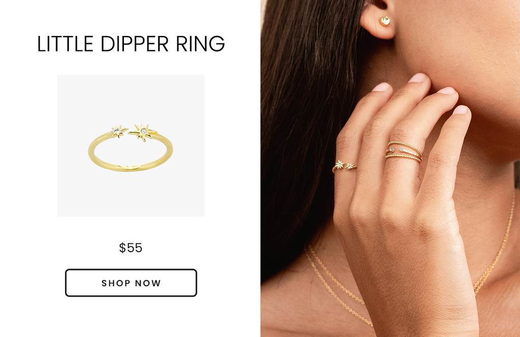 Little Dipper Ring, handmade by Katie Dean Jewelry in the USA, Valentine's Day Gift