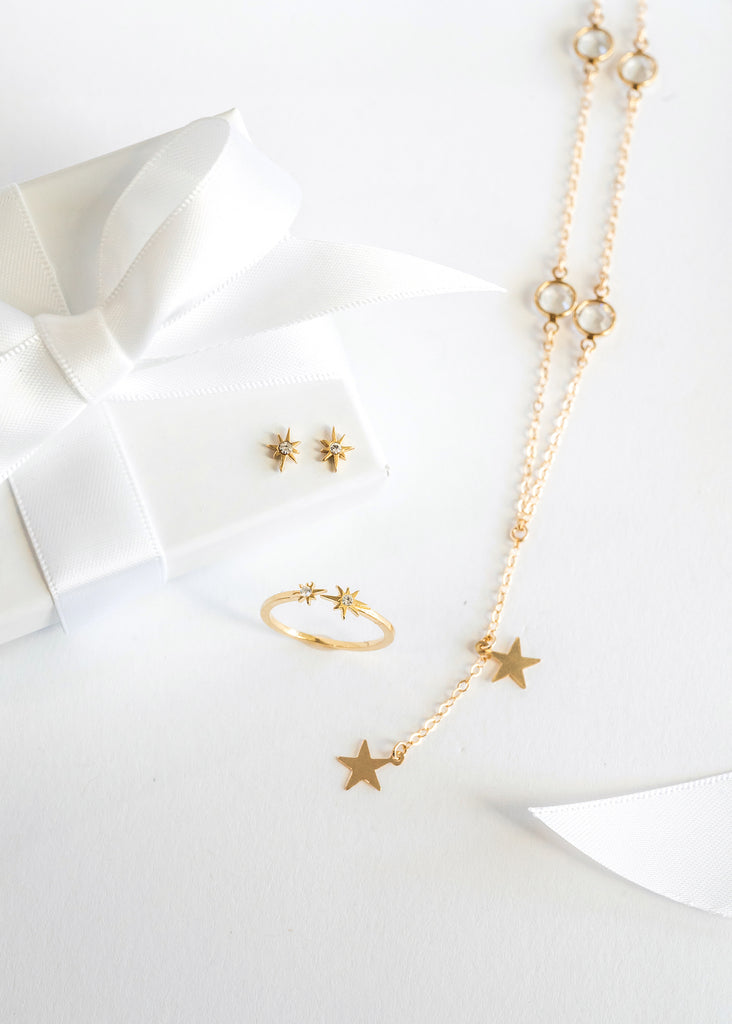 Star earrings, ring and necklace, Katie Dean Jewelry, dainty jewelry gift guide