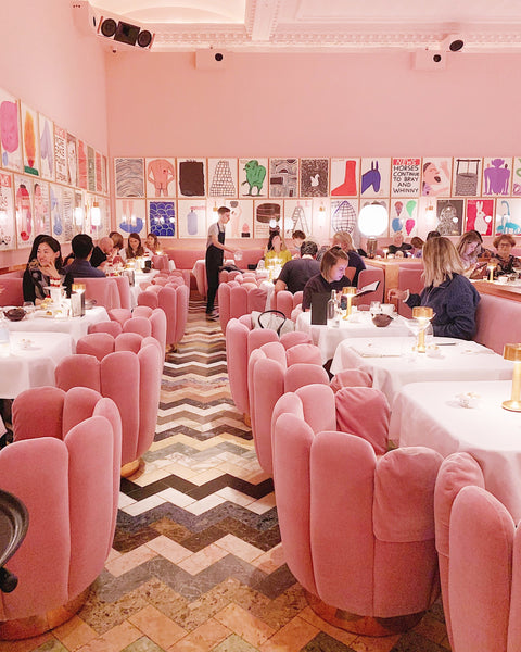Sketch London tea time in beautiful pink lounge.
