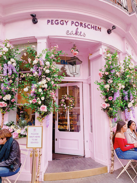 London Travels, Floral Installment at Peggy Porschen Cakes, Katie Dean Jewelry Travel Guide