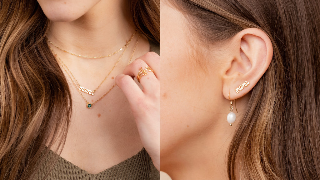 MAMA collection by Katie Dean Jewelry, dainty mama necklace and mama earrings
