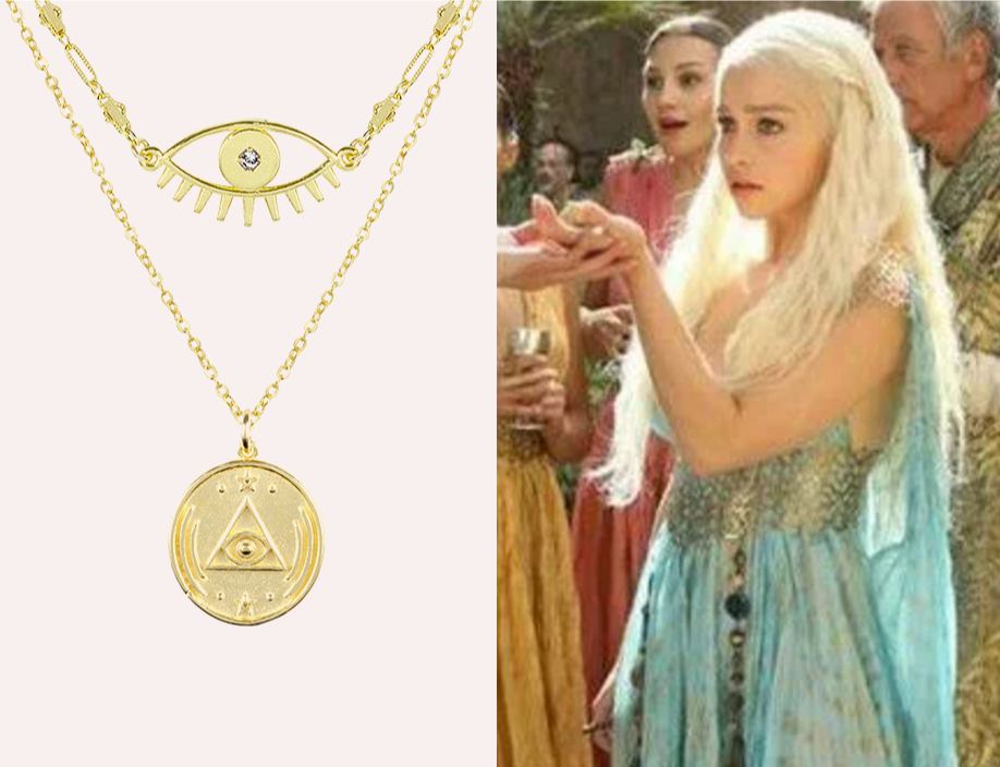 Mother of Dragon Costume, Evil Eye Necklace and Good Vibes Necklace Set handmade in America by Katie Dean Jewelry