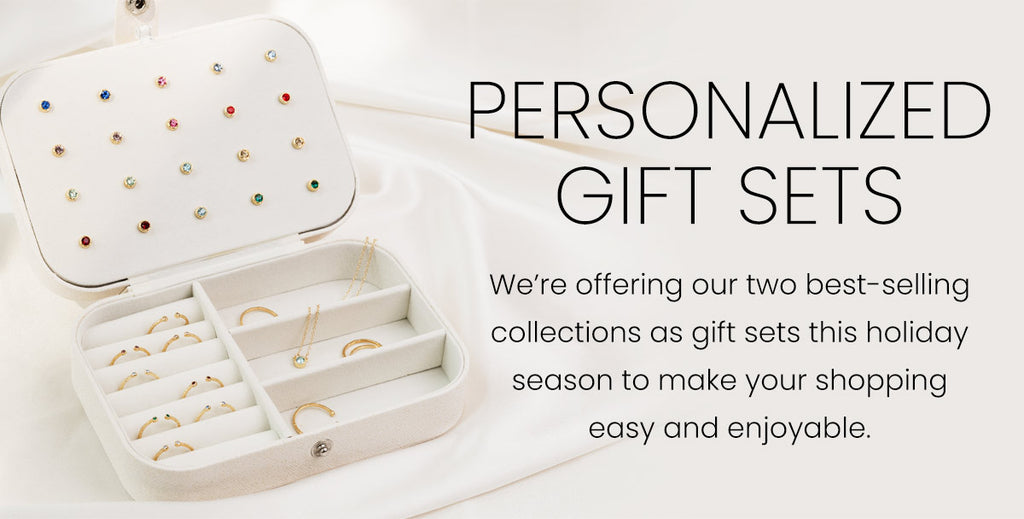 Personalized Gift Sets by Katie Dean Jewelry featuring the Initials Collection and Birthstone Collection for Holiday 2020