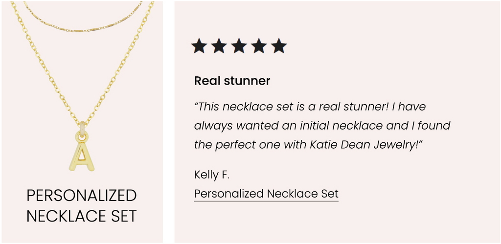 Personalized Necklace Set, Five Star Customer Review, Katie Dean Jewelry