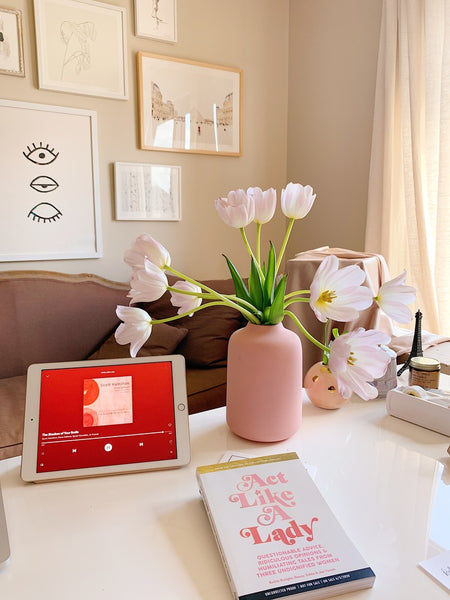 Pink tulips in a pink vase on Katie Dean Jewelry's Desk, The Power of Flowers blog