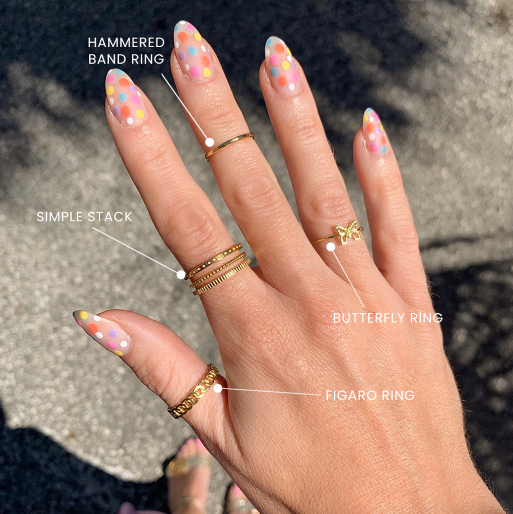 Polka Dot Nails and gold stacking rings handmade in America by Katie Dean Jewelry