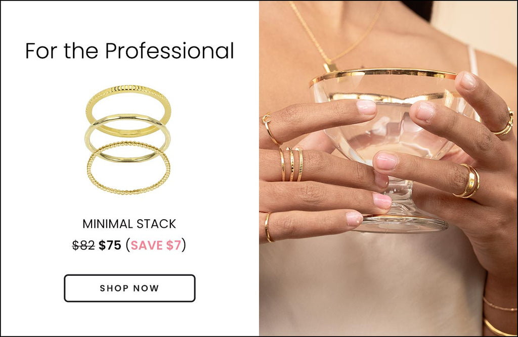 Katie Dean Jewelry gold dainty rings meant for layering and stacking, handmade in California