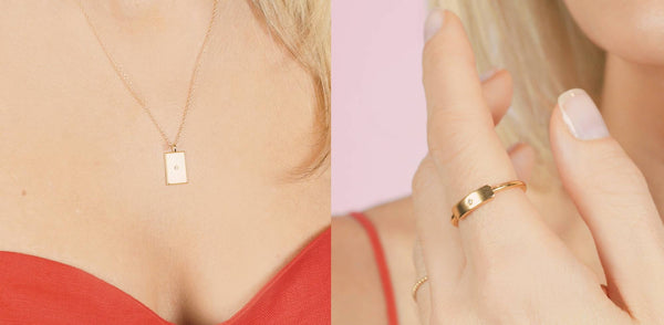 Dainty, handmade Rectangle Necklace and Ring by Katie Dean Jewelry on a model with a red dress.