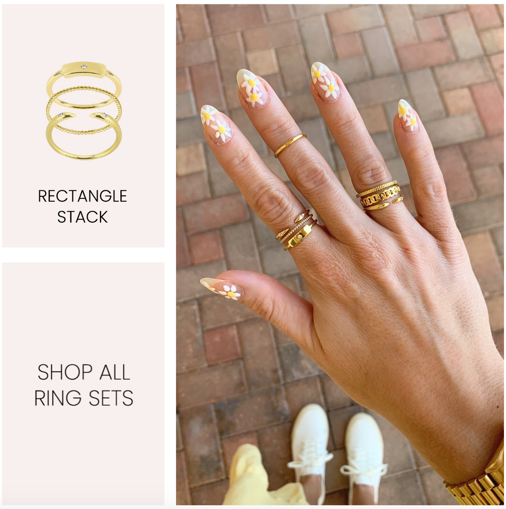 Rectangle Ring Stack, dainty gold rings, Katie Dean Jewelry