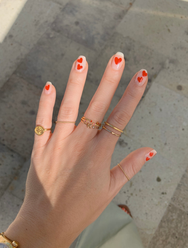 Red Heart Nails and ring party by Katie Dean Jewelry