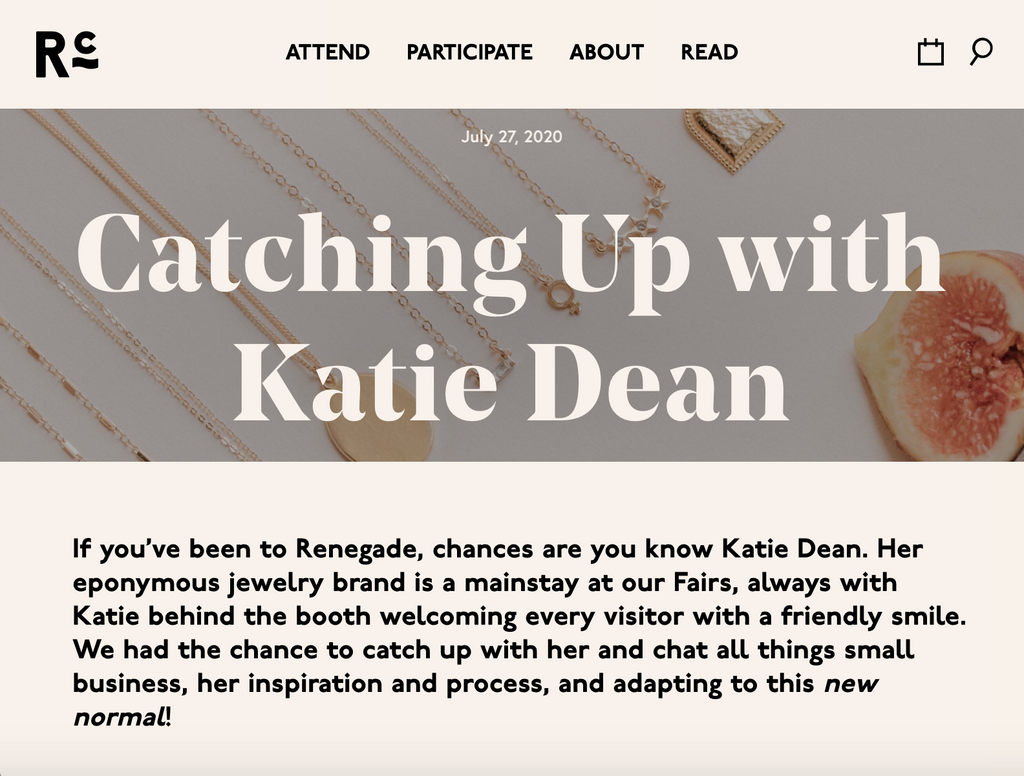 Renegade Craft interview with Katie Dean, Jewelry Designer based in California