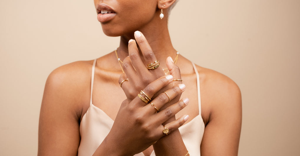 Katie Dean Jewelry, dainty gold layering and stacking rings