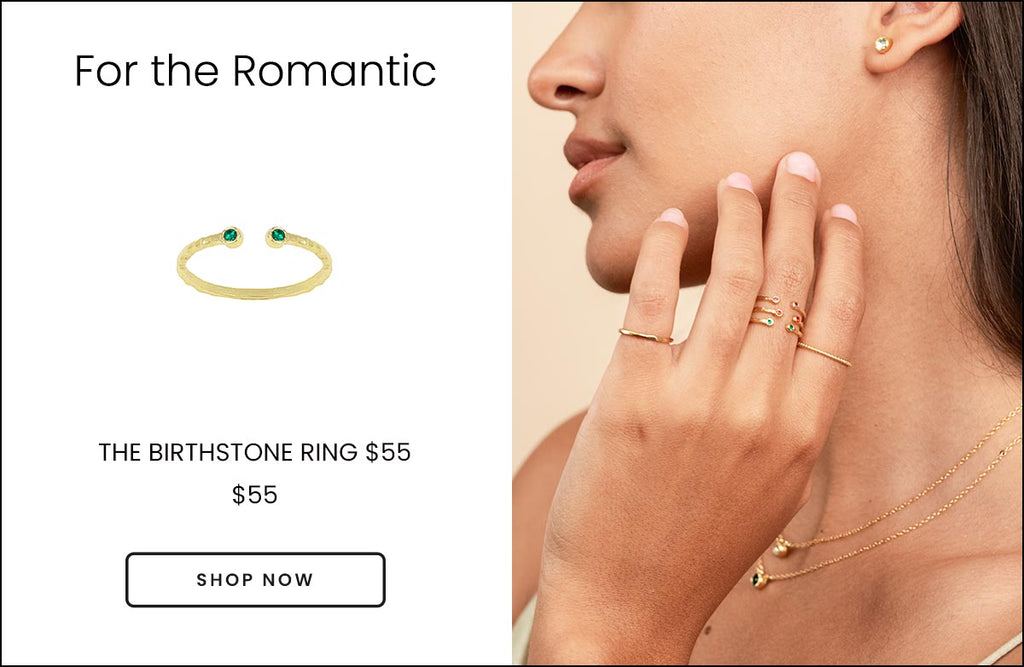Picture showing the Birthstone Ring on one side against a white background and the other image showing a model wearing a dainty gold birthstone ring, handmade by Katie Dean Jewelry