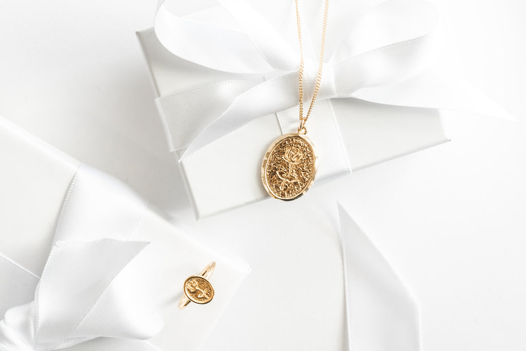 Rose charm Necklace, Rose ring, Katie Dean Jewelry, Holiday Gift Guide