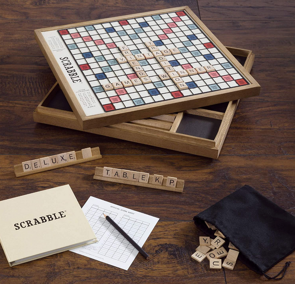 Scrabble Board Game made of wood with swivel