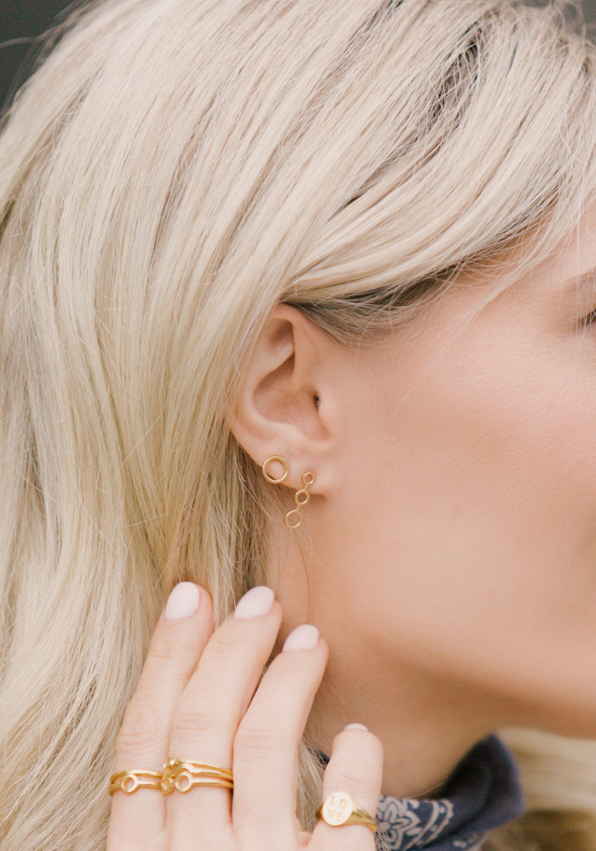 Trio Studs, Katie Dean Jewelry, dainty dangle earrings