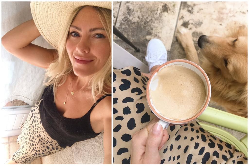 Trullo Sant'angelo, Katie Dean selfie + coffee with dog 2019 trip