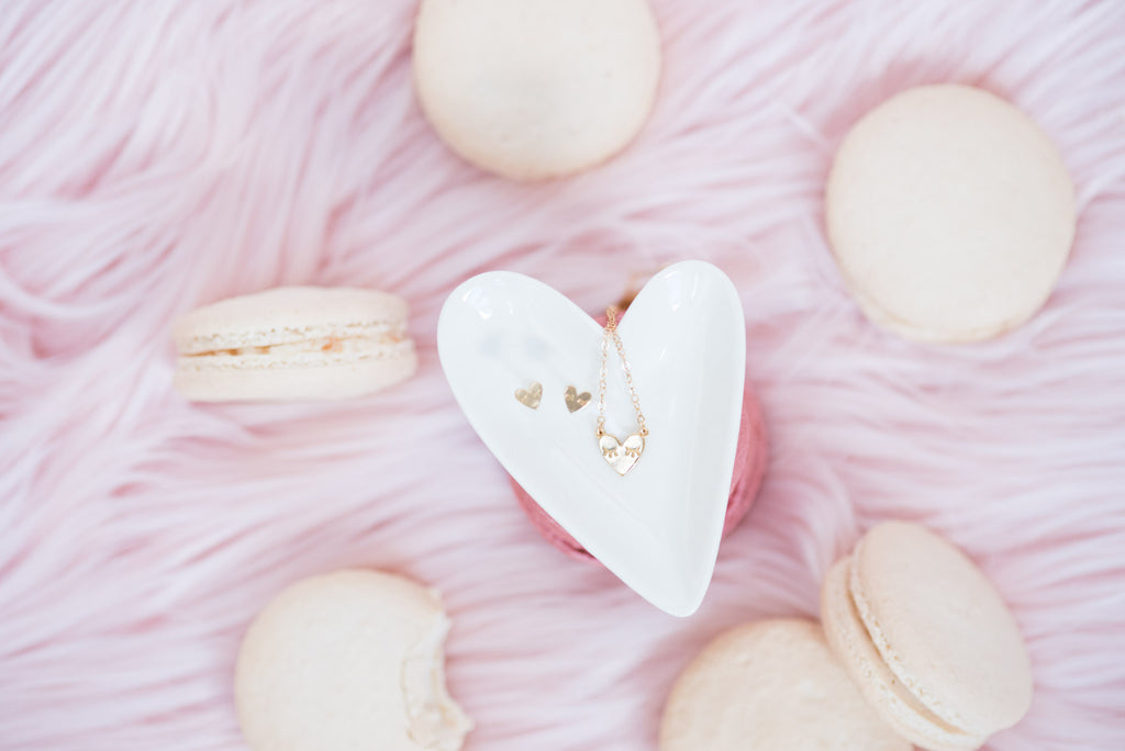 Valentine's Day Heart Studs and Heart Necklace, Katie Dean Jewelry