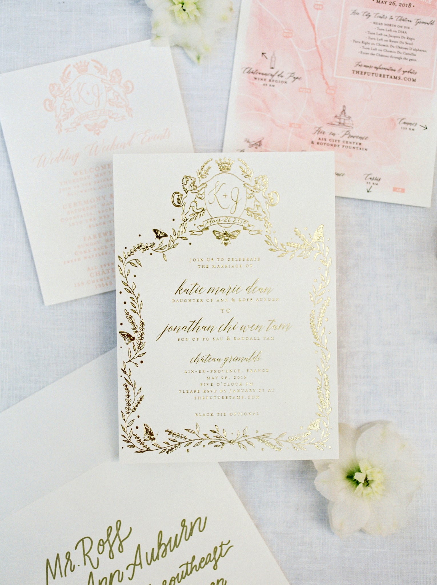 Wedding invitation suite, Minted, Katie Dean Jewelry, Jonathan Tam, Provence France Wedding