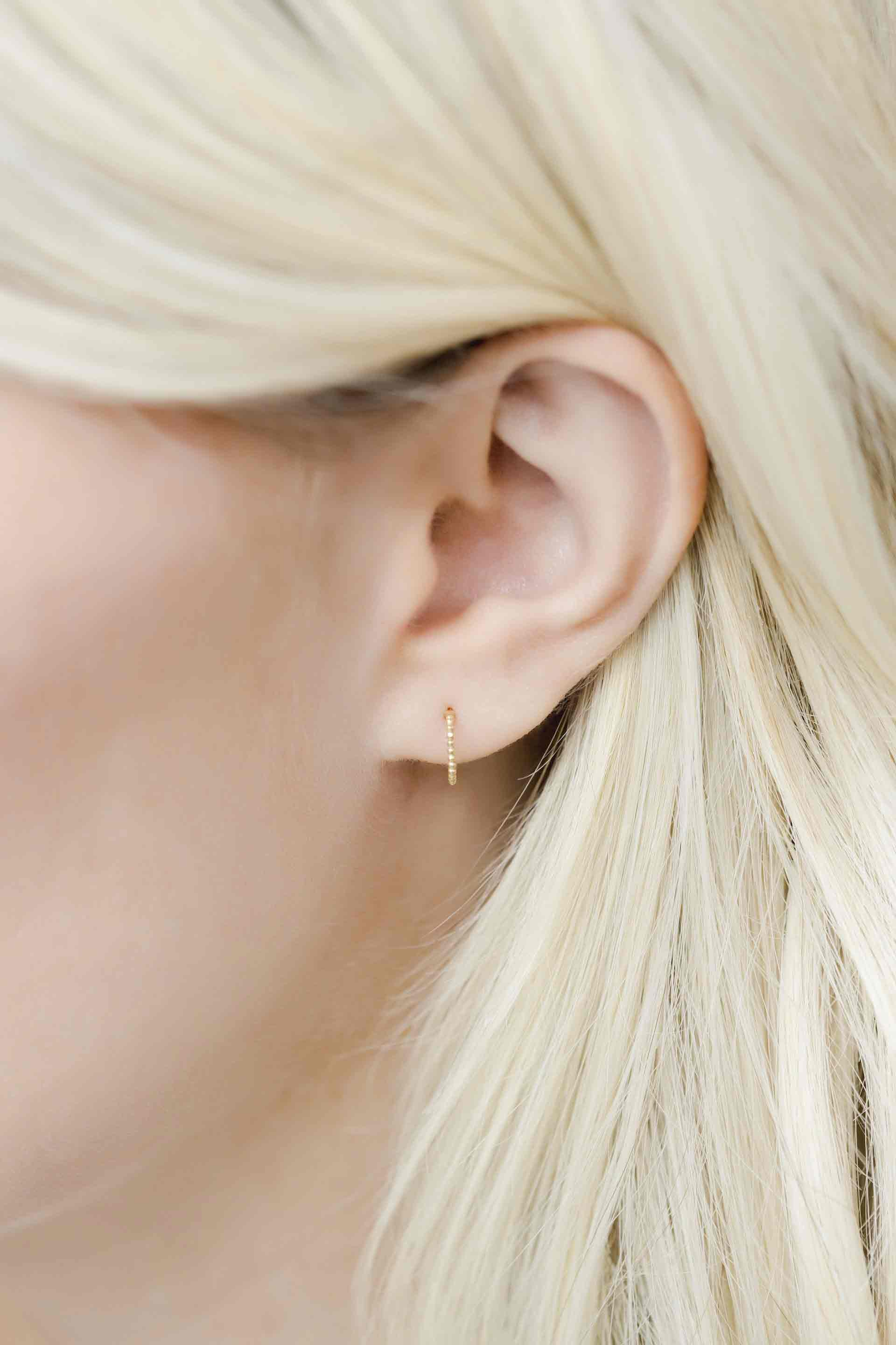 Katie Dean wearing Beaded Hoop Studs.