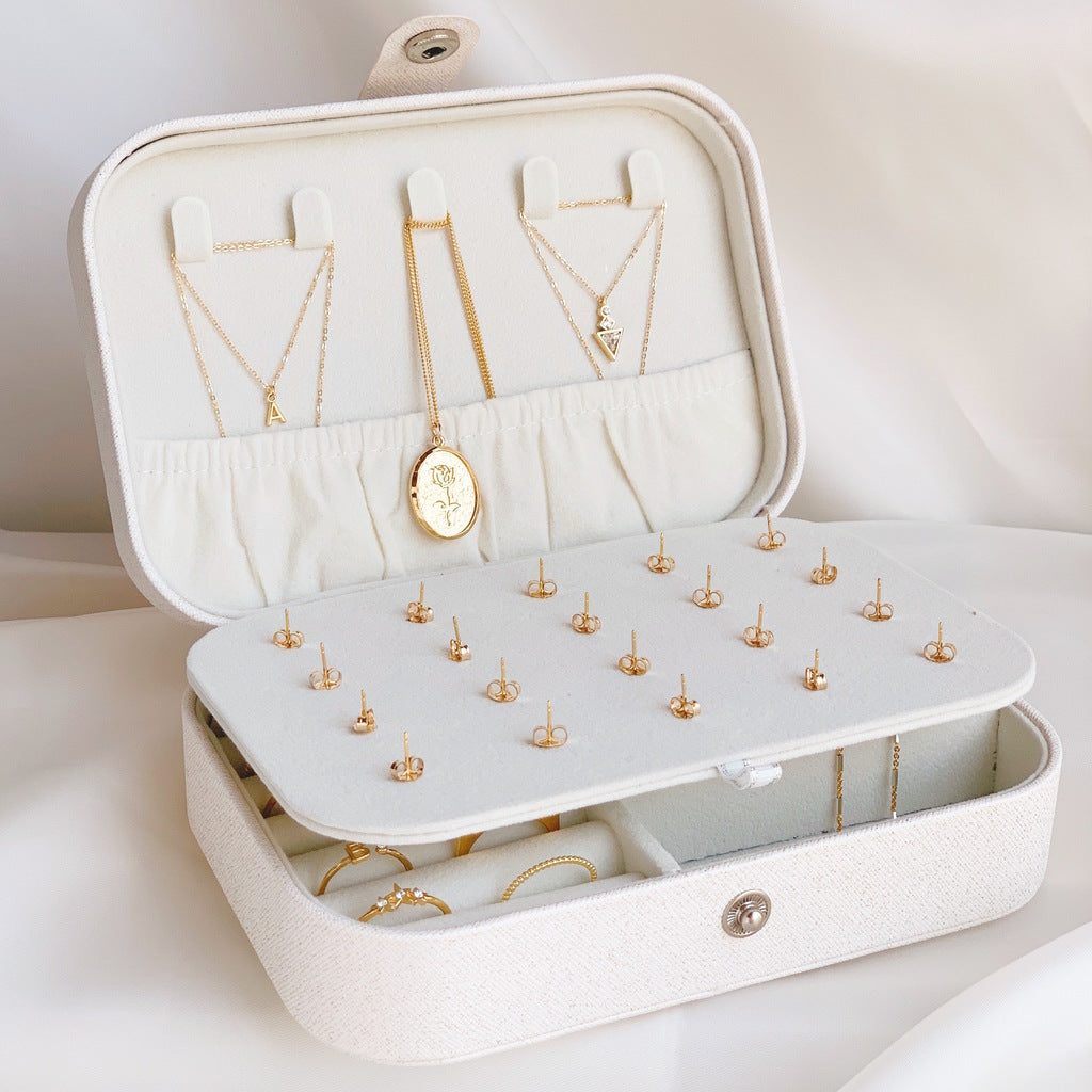 White jewelry case with dainty gold Katie Dean Jewelry necklaces inside.