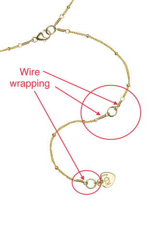 Wire Wrapping example on gold chain, Katie Dean Jewelry