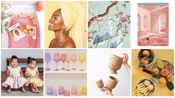 Collage of 8 different colorful images showing products from brands founded by women of color