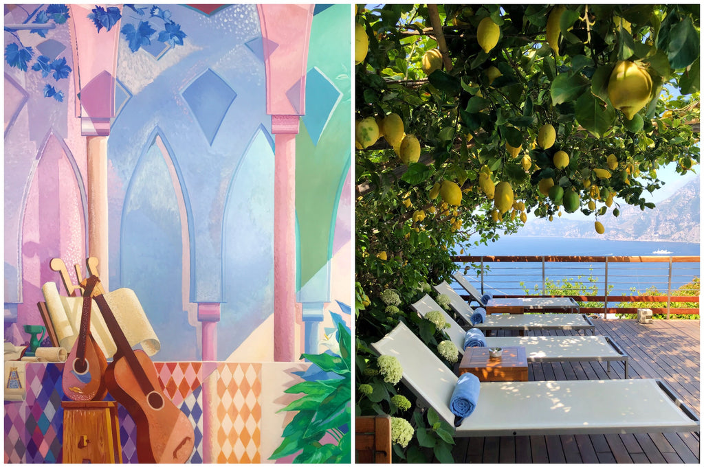 A beautiful and colorful painting within Casa Angelina and the view of the Amalfi Coast from their pool area showing lemon trees and lounge chairs.