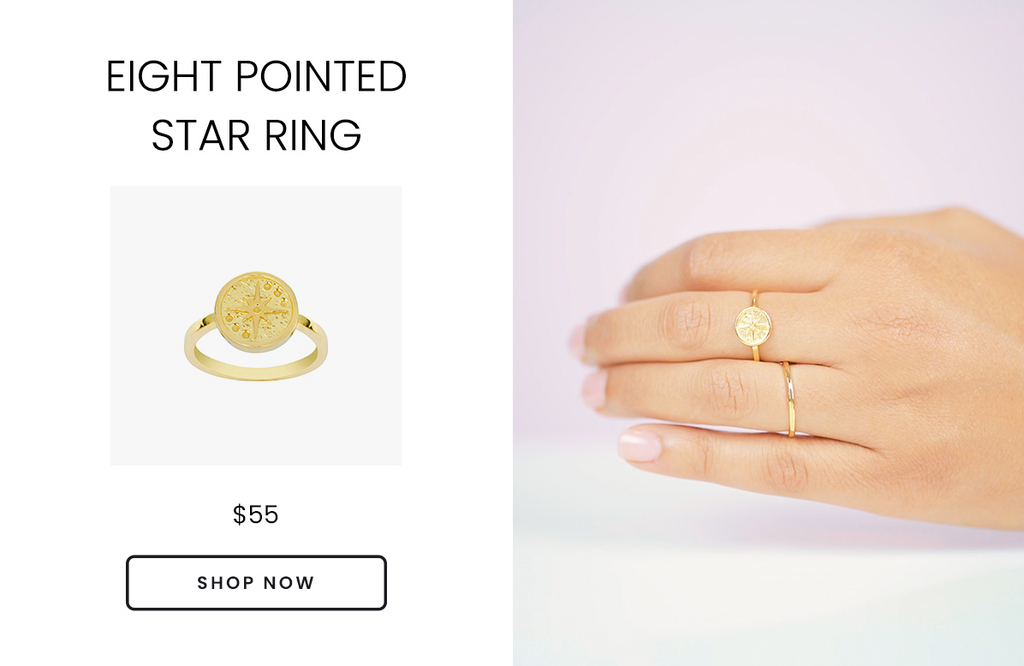 eight pointed compass star ring, handmade by Katie Dean Jewelry in the USA, Valentine's Day Gift