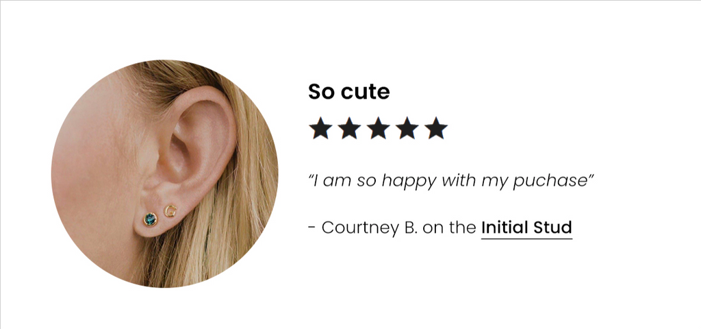 Five star customer review, the Initial Stud Earring by Katie Dean Jewelry