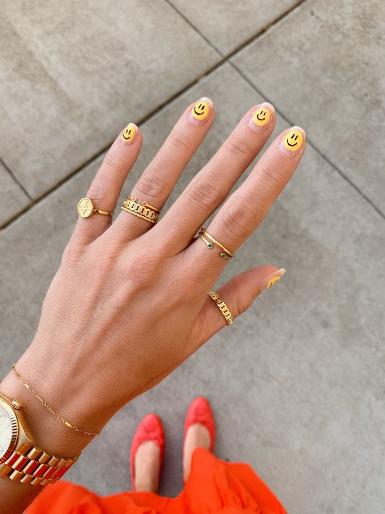 Happy Face nails, at home manicure by Katie Dean, with dainty Katie Dean Jewelry rings