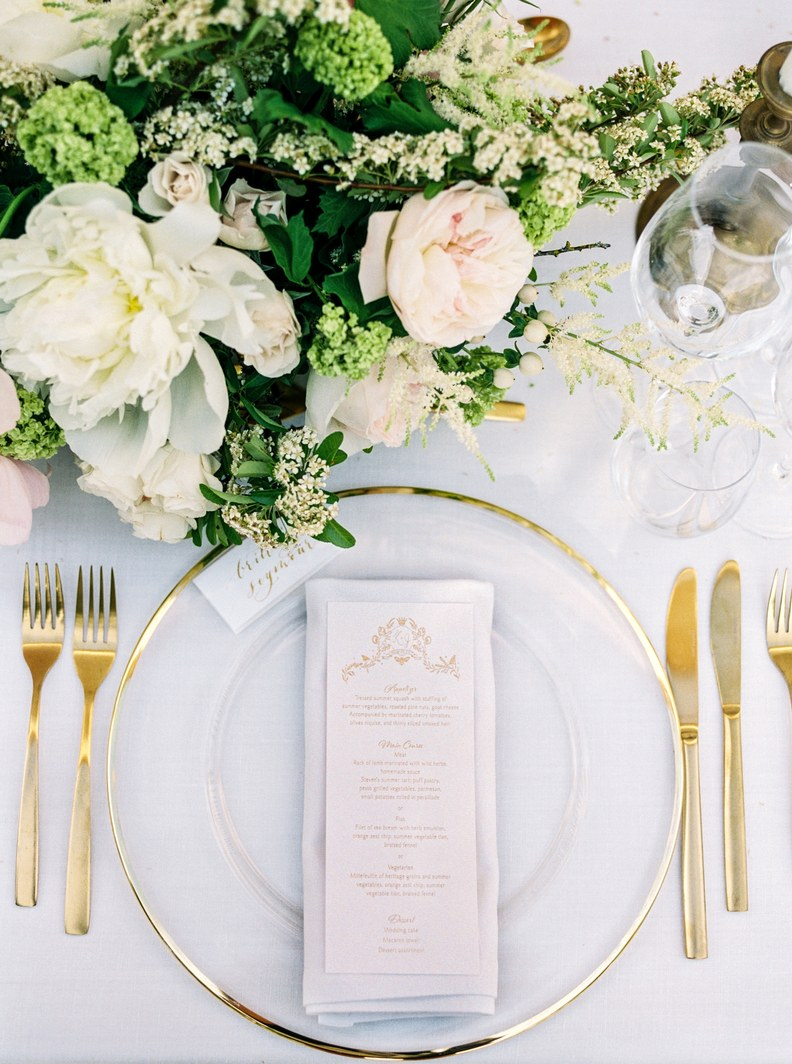 Katie Dean Jewelry romantic destination wedding at a chateau, Provence, France, table setting