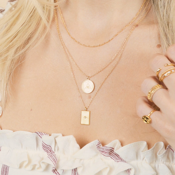 Dainty necklace layering look. All pieces made in California by Katie Dean Jewelry.