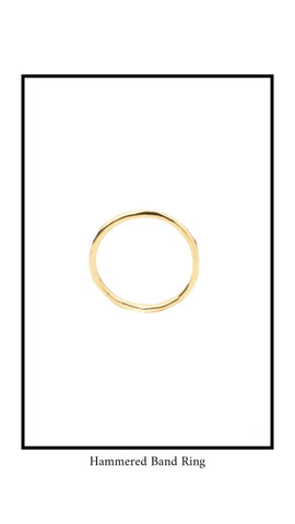 Picture of the hammered band ring for the Katie Dean Jewelry collection. Gold in color.