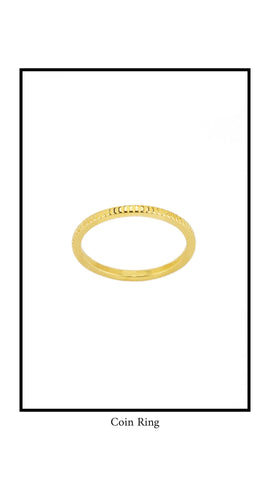 Gold Coin ring from Katie Dean Jewelry collection on white background.