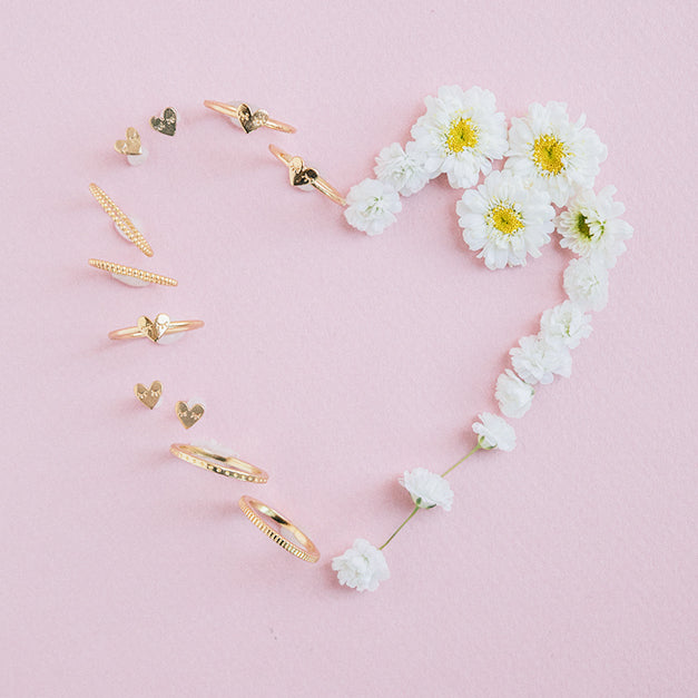Katie Dean Jewelry, dainty gold rings-in-heart-shape with flowers-valentines-day
